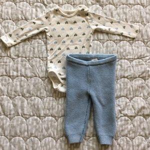 "Baby Boy GAP garter pants & H&M ""Cars"" bodysuit"